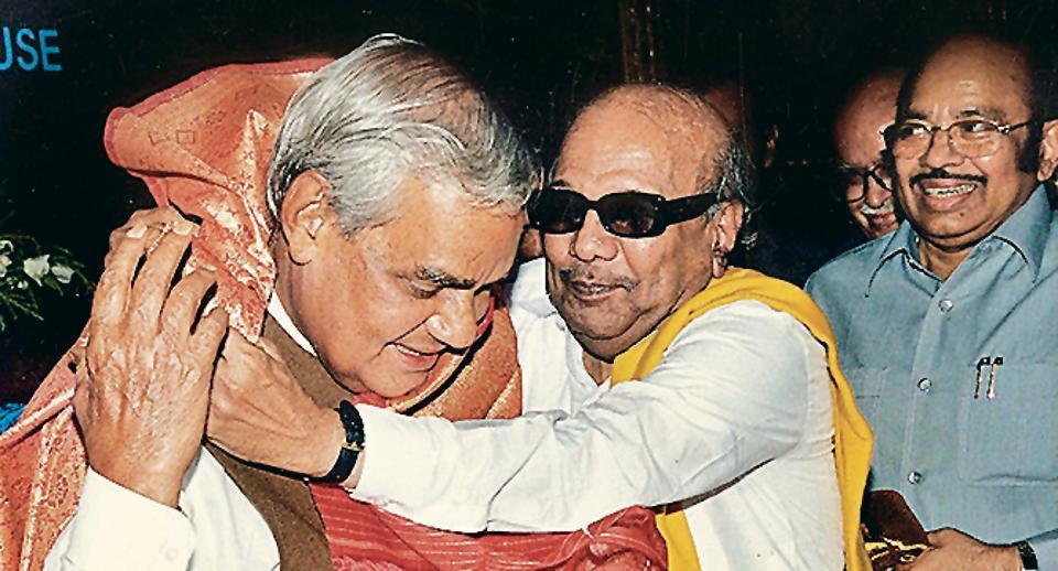 M Karunanidhi felicitates Atal Bihari Vajpayee at Parliament House, 1999.