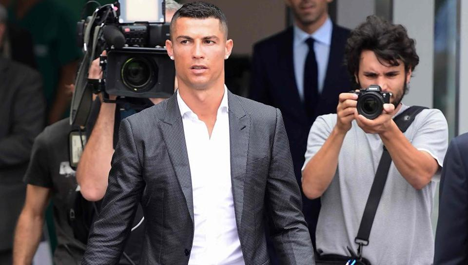 Portuguese footballer Cristiano Ronaldo arrives at the Juventus medical centre at the Alliance stadium in Turin.