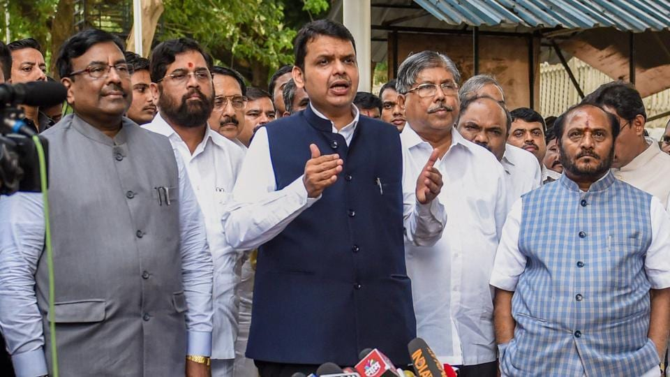 Maharashtra Chief Minister Devendra Fadnavis along with party leaders interact with the media after an all-party meeting to discuss the Maratha reservation issue, in Mumbai on Saturday, July 28, 2018.