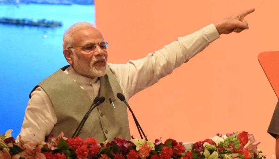 Prime Minister Narendra Modi addresses during a programme to mark completion of three years of Smart City Mission, AMRUT and Pradhan Mantri Avas Yojna, at Indira Gandhi Pratishthan, in Lucknow, India, on Saturday, July 28, 2018.