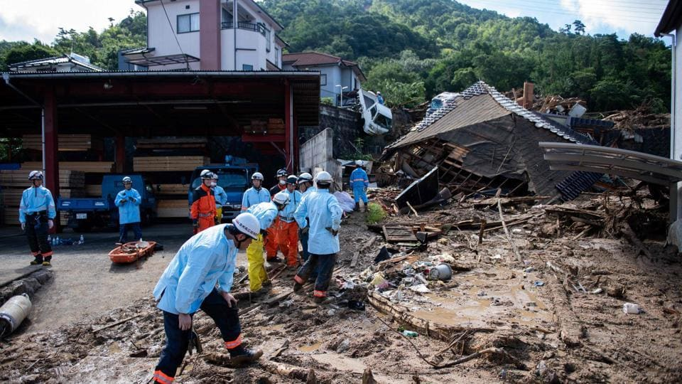 Flood hit area in Kumano. A powerful typhoon hurtled towards Japan on Saturday, with western areas recently devastated by floods and landslides in the storm's cross-hairs.