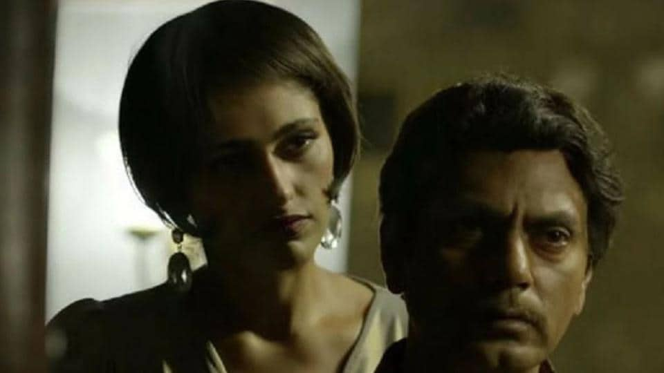 Kubbra Sait and Nawazuddin Siddiqui in a still from Sacred Games.