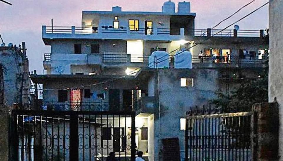 A view of the house in Saraswati Enclave where the man killed his wife with her 'chunni' after an altercation.