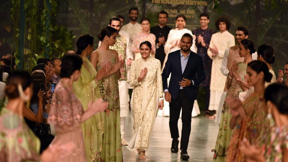 Designer Rahul Mishra, who also showed his creation on the fourth day of the couture week on Saturday, said he was inspired by 17th century Mughal architecture. (Sarang gupta/ ht photo)