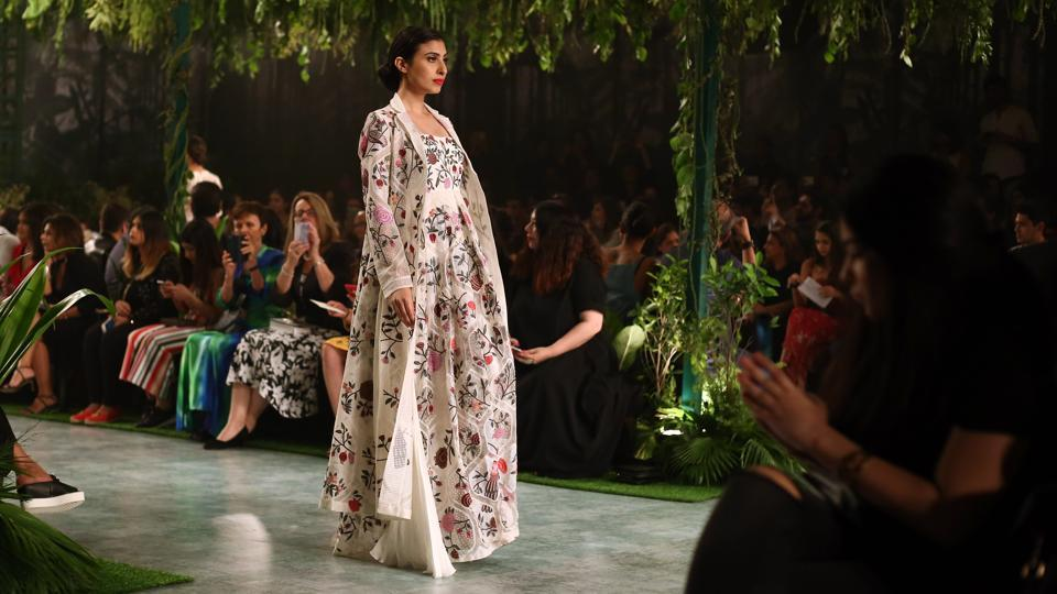 Mishra's colourful and daring couture collection was titled Maraasim. (jasjeet plaha/ht photo)