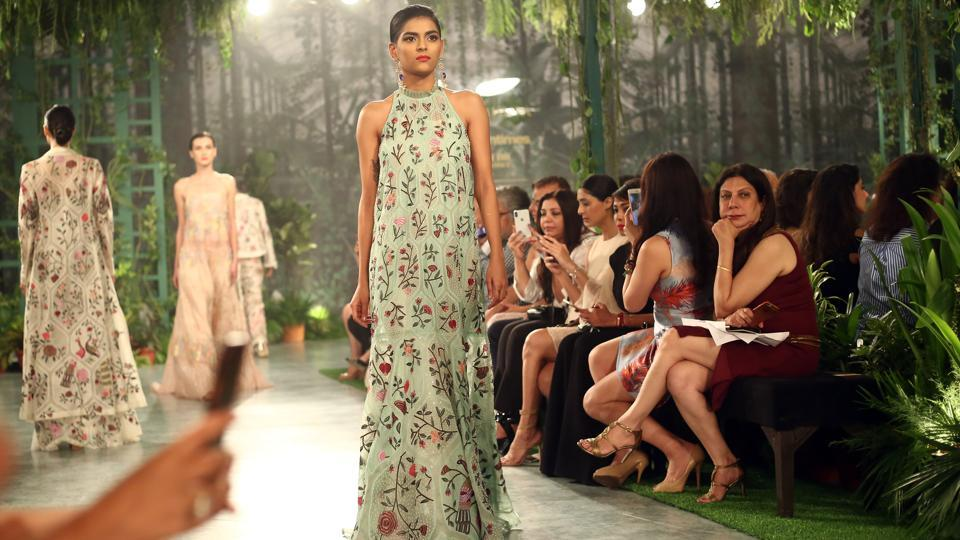 """There is a cross-pollination of ideas for this collection. I have tried to give everything a fresh look, and historical art a new space,"" Mishra, the first Indian designer to win the International Woolmark prize, said before his show.  (jasjeet plaha/ht photo)"