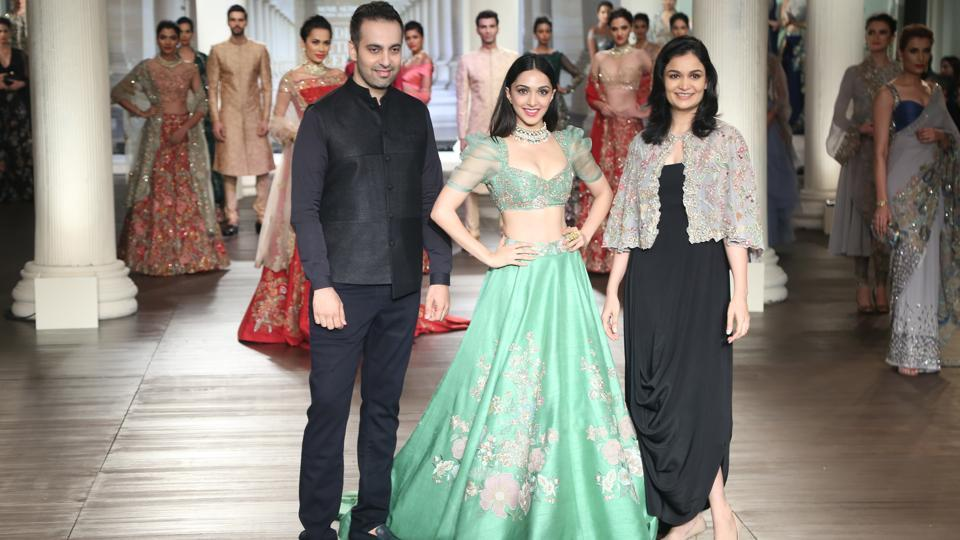 Shyamal and Bhumika gave traditional silhouette a modern makeover with their showstopper Kiara Advani's seafoam green lehenga.  (Amal KS/HT Photo)