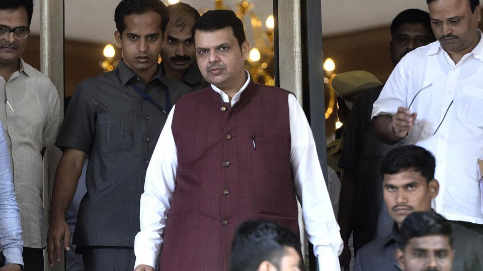 CM Devendra Fadnavis coming out of Shyadri Guest House after the meeting Leaders of Maratha Andolan and Narayan Rane in Mumbai, India, on Sunday, July 29, 2018.