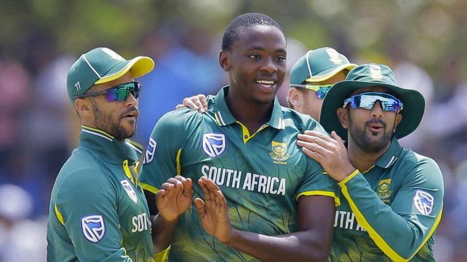 Kagiso Rabada, center, celebrates with teammates the dismissal of Sri Lanka's Shehan Jayasuriya during their first one day international cricket match in Dambulla, Sri Lanka, Sunday, July 29, 2018.