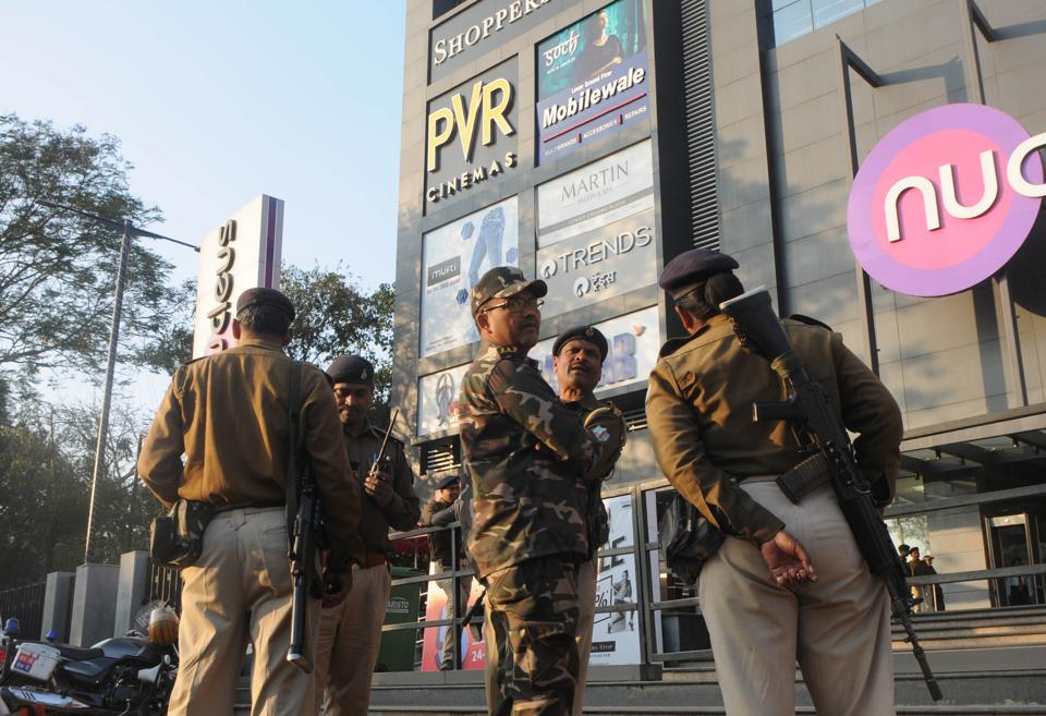 :Heavy police force deployed outside multiplexes in Ranchi, India.