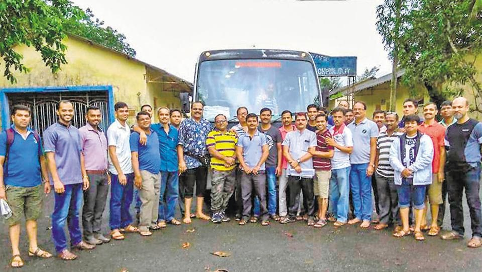 The group of staff members who were travelling in the mini-bus, which later met with an accident. (PTI)