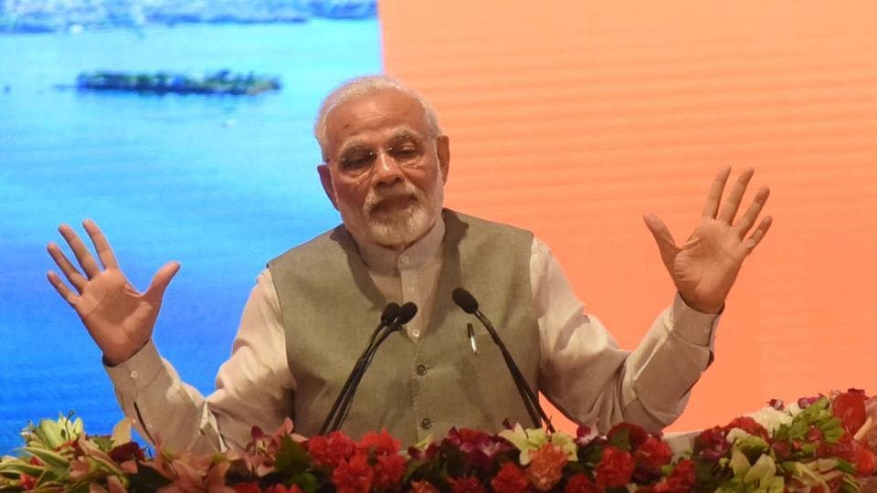 Prime Minister Narendra Modi addresses during a programme to mark completion of three years of Smart City Mission, AMRUT and Pradhan Mantri Avas Yojna, at Indira Gandhi Pratishthan, in Lucknow on July 28.