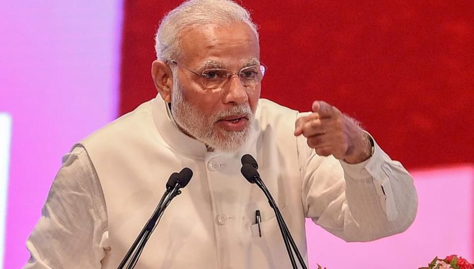 Lucknow: Prime Minister Narendra Modi speaks during a ground breaking ceremony to launch various projects worth 60,000 crore rupees, at Indira Gandhi Pratishthan in Lucknow on Sunday, July 29, 2018.