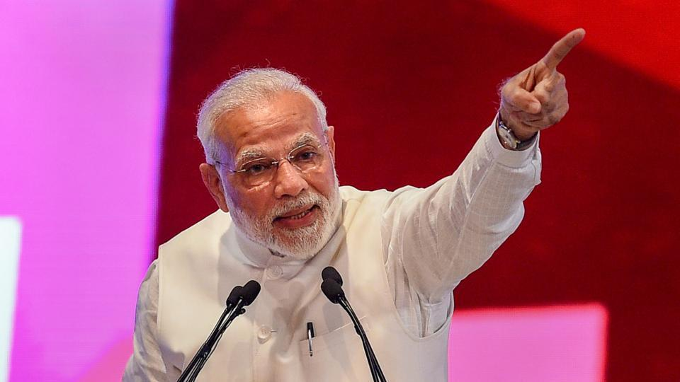 Prime Minister Narendra Modi speaks at a ground breaking ceremony to launch various projects worth 60,000 crore rupees, at Indira Gandhi Pratishthan in Lucknow on Sunday, July 29, 2018.