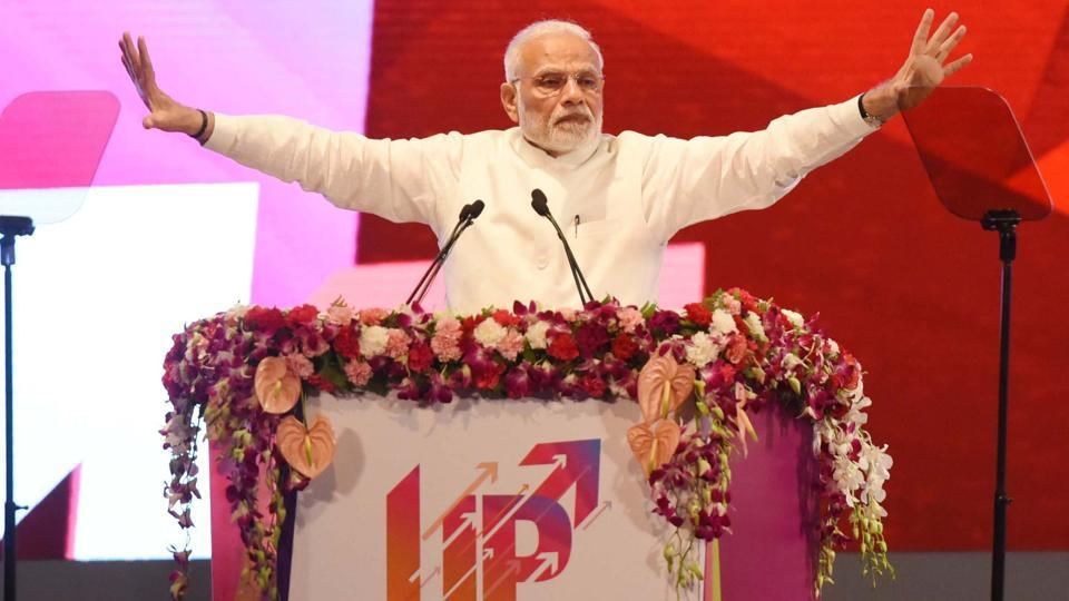 Prime Minister Narendra Modi, addressing a mega ground-breaking event at Indira Gandhi Pratishthan, in Lucknow, India, on Sunday, July 29, 2018.