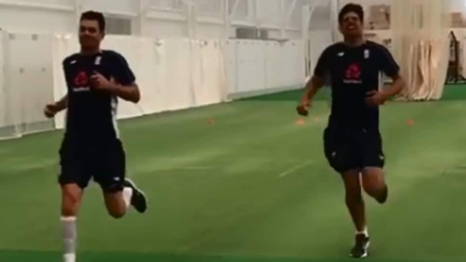 In a video posted on Instagram by the England cricket team's official account, both Alastair Cook and James Anderson are seen taking the test together.