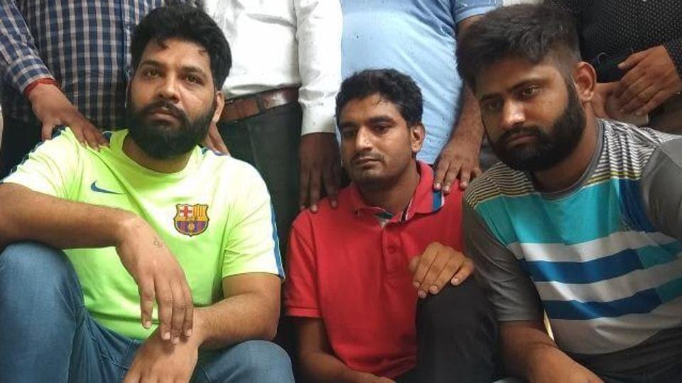 (From left) Gangster Bhupi Rana, Gaurav Roda and Kuldeep Chauhan in police custody on Monday.