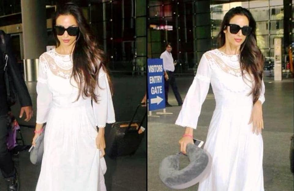 Malaika Arora's stark white bohemian-inspired lace dress from Swoon is so simple and perfect for wearing all summer long.  (Insatgram)