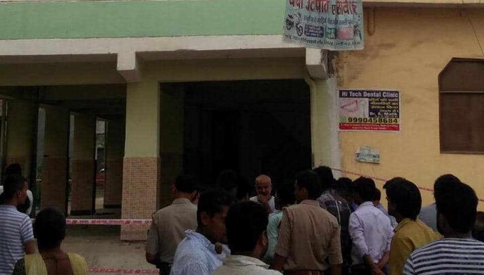 Five families were evacuated after a five-storey building in Greater Noida's Shahberi village developed cracks and started tilting to one side on Sunday, July 29, 2018.