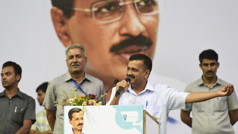 Delhi Chief Minister Arvind Kejriwal speaks during an interactive session with RWAs, markets associations and general public for installation of CCTVs in the national capital, in  New Delhi on Sunday, July 29, 2018.