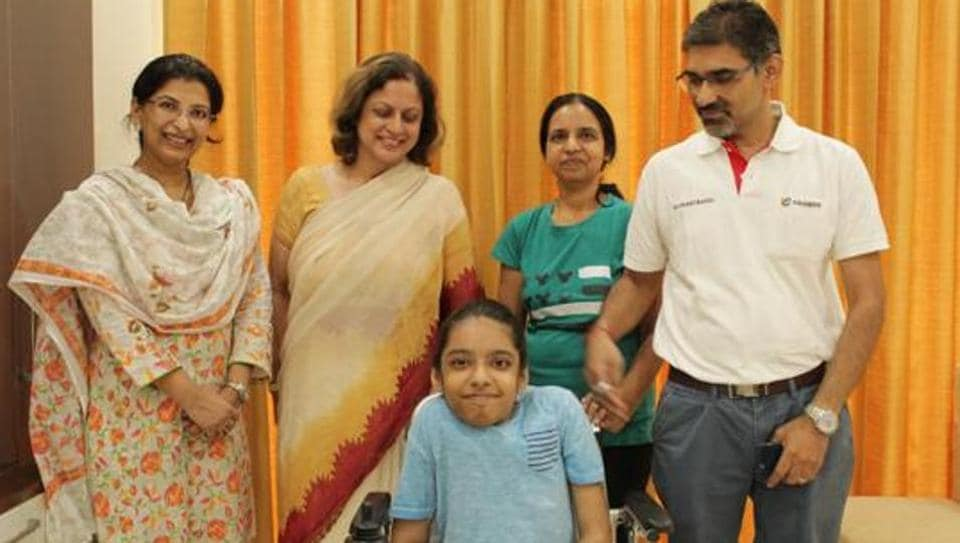 Anushka Panda (on wheelchair)  recently topped the CBSE Class 10 board examination in the disabled category.