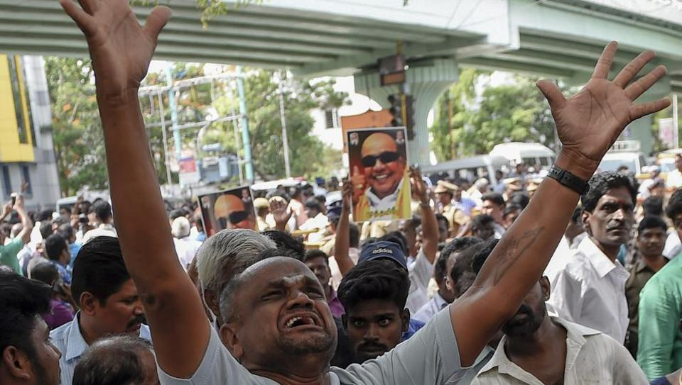 Dravida Munnetra Kazhagam (DMK) supporters outside Kauvery hospital where party chief M Karunanidhi is being treated, in Chennai on July 30, 2018.