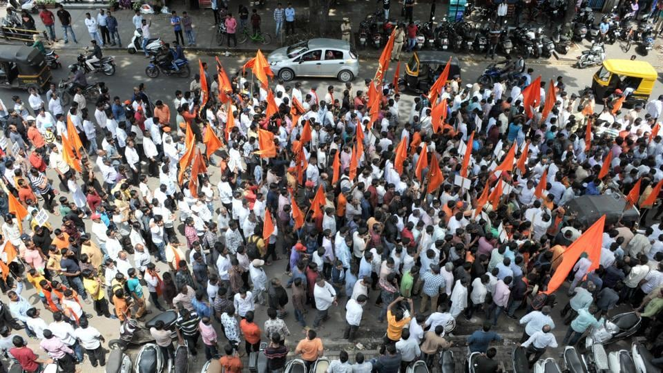 Maratha protesters on J M Road in Pune during the quota stir on Sunday.