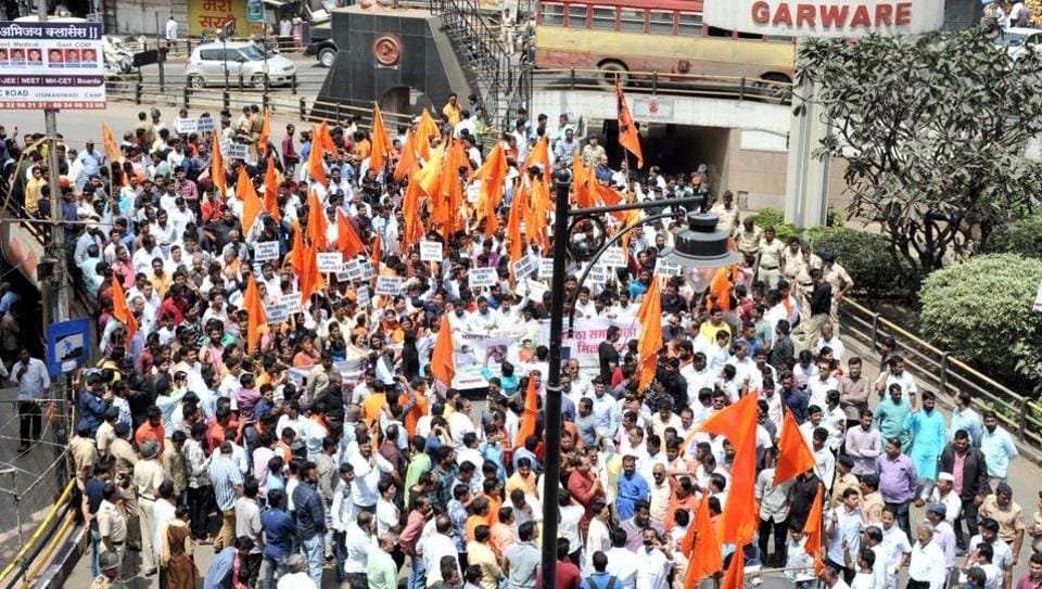 Shouts of 'Ek Maratha, Lakh Maratha' rang through the air as a few hundred protestors walked peacefully through JM road in Pune, India, on Sunday.