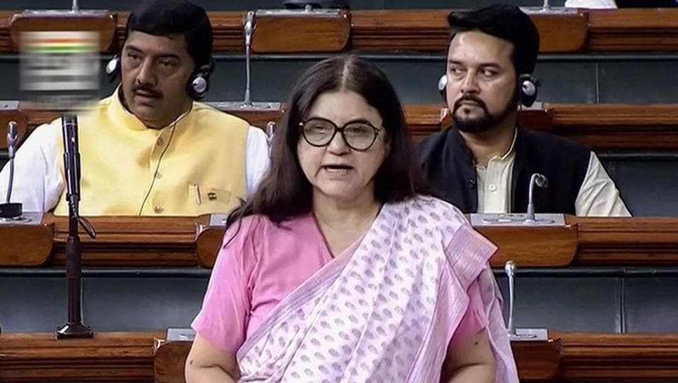 Union Minister for Women and Child Development Maneka Sanjay Gandhi speaks in the Lok Sabha during the Monsoon session of Parliament, in New Delhi on Thursday, July 26, 2018.