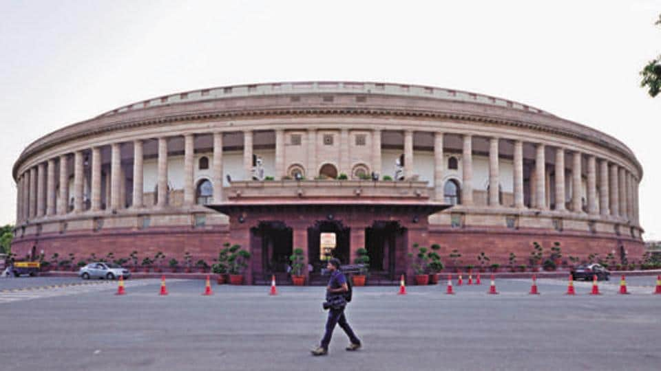 Parliament House of India at Sansad Marg, Janpath Building in New Delhi.