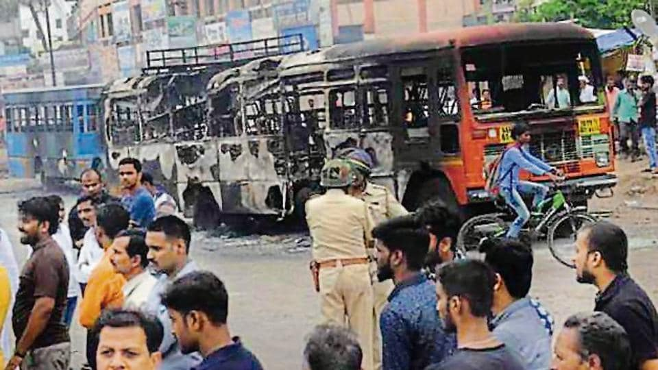 Maratha community members demanding reservation resorted to violence in Maharashtra and damaged about 100 vehicles.