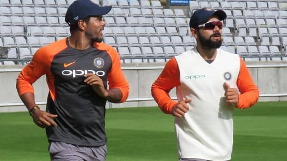 Virat Kohli (R) and Umesh Yadav practice ahead of India's first Test against England. (BCCI)