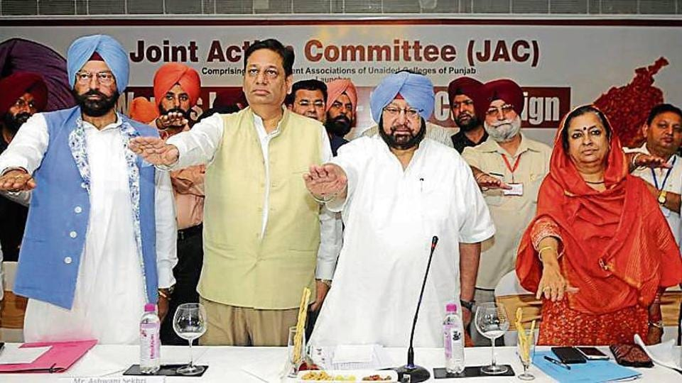 Punjab CM Capt Amarinder Singh with Congress' Punjab affairs in-charge Asha Kumari, health minister Brahm Mohindra (right) and minister Gurmit Sodhi (left)and others during the launch of an anti-drug drive in Chandigarh.