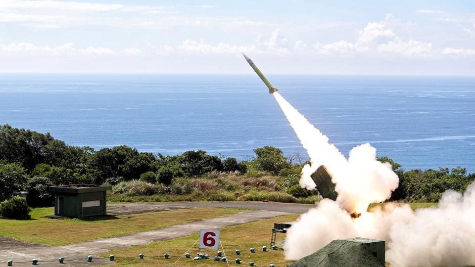 A MIM-104C (PAC-2) Patriot, a surface-to-air missile (SAM) system fires a missile during Han Kuang military drill in Pingtung, Taiwan on June 5.  India is seeking to deploy the National Advanced Surface-to-Air Missile System-II (NASAMS-II) .