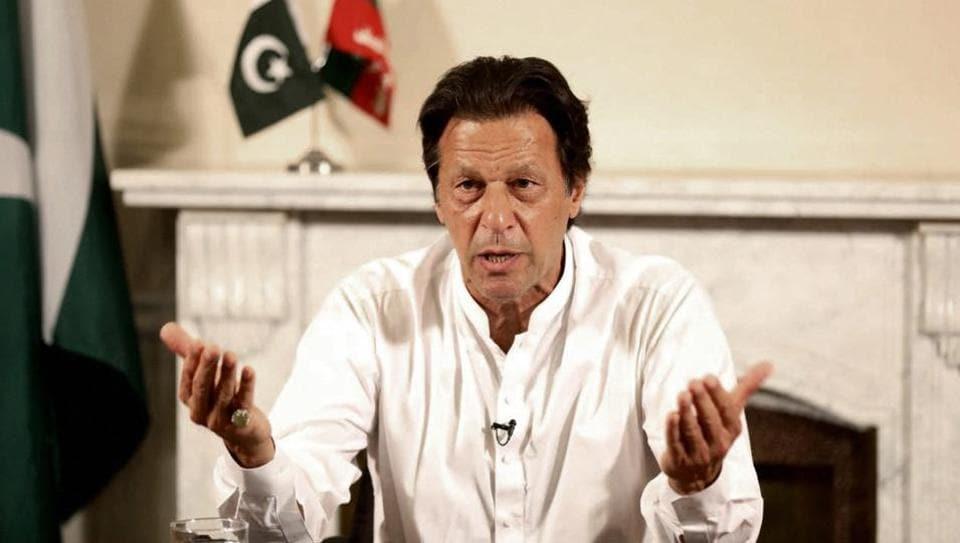 Pakistani politician Imran Khan, chief of Pakistan Tehreek-e-Insaf party, delivers his address in Islamabad, Pakistan.