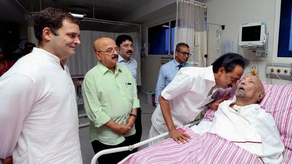 Congress President Rahul Gandhi visits the ailing DMK president M Karunanidhi, who continues to remain in the intensive care for the fourth consecutive day, at the Kauvery Hospital in Chennai on Tuesday, July 31, 2018.