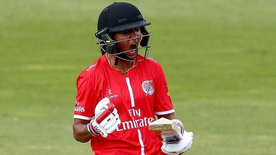 Harmanpreet finished unbeaten on 34 off 21 balls on her Lancashire debut.