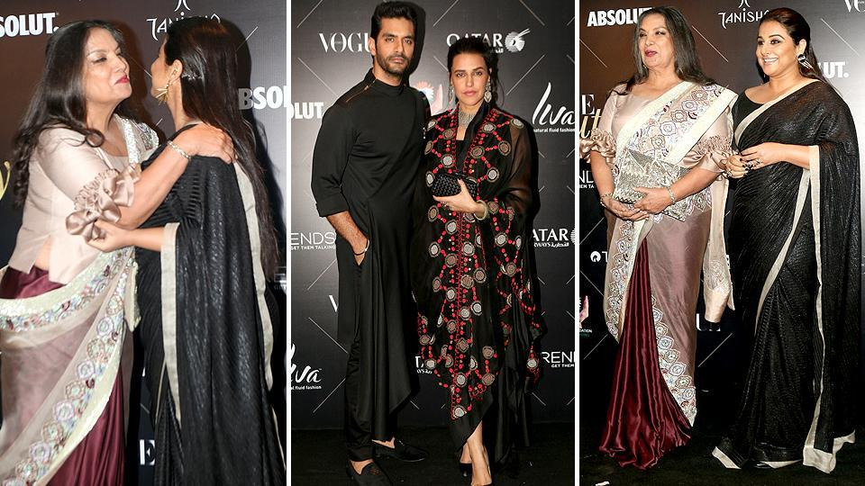 There was a lot of bonhomie between Shabana Azmi and Vidya Balan. Recently married couple Angad Bedi and Neha Dhupia were also there for the Vogue Beauty Awards.    (IANS)