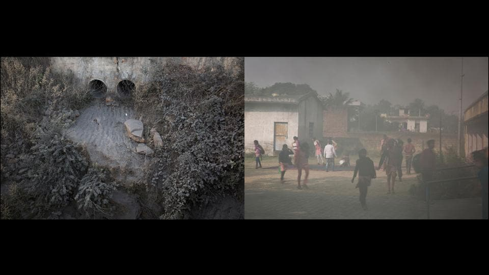 Left: Ash near Jayant Mines, Right: Government school, Anpara. The day starts for the government school beside Rajkumar Devi's house with a thorough sweep and sprinkle, but the black soot remains settled deep within the cracks of the floors. In summer, the coal-dust storms often turn day into night, even as the teachers and children tie their scarves tightly around their faces while singing the national anthem. (Ruhani Kaur)