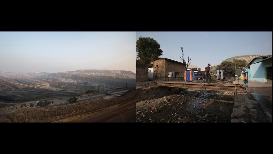 "Left: An overview of Jayant Mines, Right: Vimlesh Sawhney, Chilkadand. ""Burnt coal emits so much gas, sometimes it feels like my body itself will catch fire. When the dump spills into our cabin, the glass breaks and our heads get smashed. After some basic first-aid, the company just asks us to go. After sucking our blood, the company says go, you are of no use to us now"" — Vimlesh Sawhney, 40, open-cast mine driver, Chilkadand.  (Ruhani Kaur)"