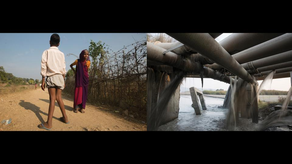 "Left: Laleram Yadav's wife and son, Right: Ash slurry. ""We realize that this is all happening due to water - it is the fluoride that is polluting us. They tell us not to drink from the well, not to drink from the hand pump. So where should we drink water from? My whole family, our two kids have become handicapped. Our bodies have no life, no strength, no power at all"" — Laleram Yadav, Gariah, 10 kms away from the Anpara Thermal Power Plant.  (Ruhani Kaur)"