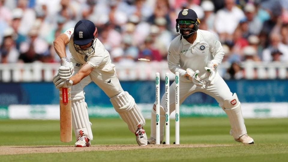 England's Alastair Cook is bowled out by India's Ravichandran Ashwin.