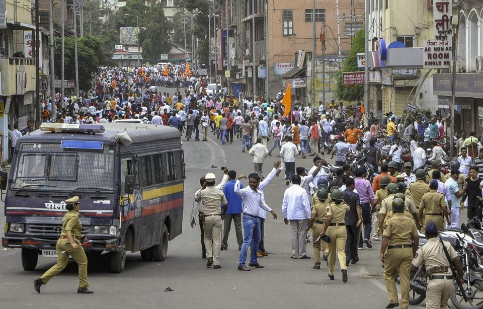 Solapur: Police personnel clash with the Maratha Kranti Morcha protesters during their district bandh called for reservations in jobs and education. While surveys from sources such as National Sample Survey Office (NSSO) give statistics on consumption, employment and asset levels of broad caste groups – Scheduled Caste (SC), Scheduled Tribe (ST), Other Backward Classes (OBC) and others – there is no information at the intra-caste or jati level about these things.