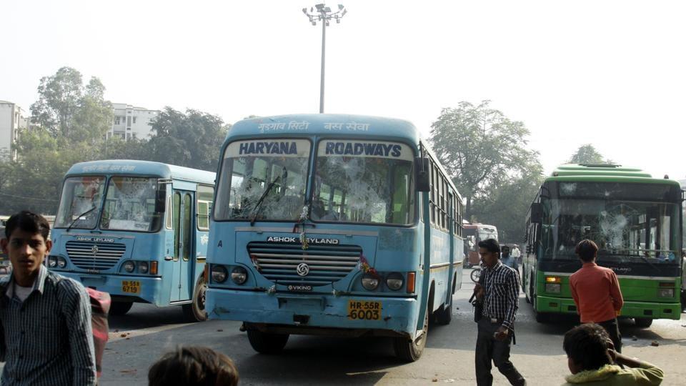 A file phot of Haryana Roadways buses in Gurugram.  Experts say Gurugram needs anywhere between 1,000 to 2,000 buses against the 30-odd buses run by Haryana Roadways.