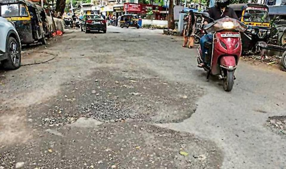 An unrepaired road in Bandra, on Wednesday.