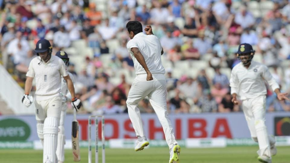 India's Ravichandran Ashwin, center, celebrates the dismissal of England's Jos Buttler during the first day of the first test cricket match between England and India at Edgbaston (AP)