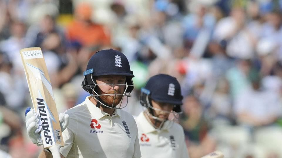 England's Jonny Bairstow celebrates scoring fifty runs during the first day of the first test cricket match between England and India at Edgbaston. (AP)