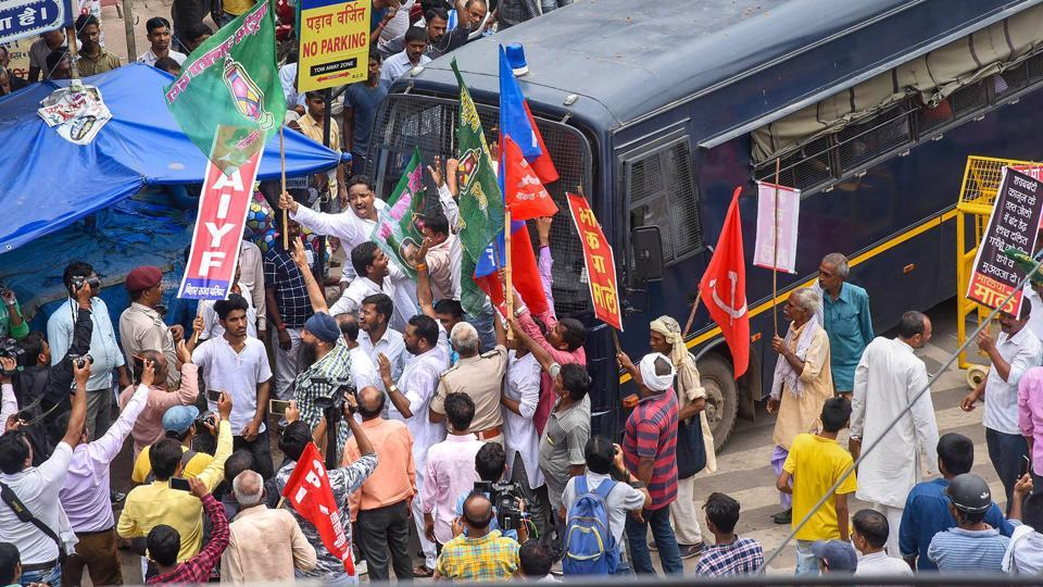 Normal life was hit in parts of Bihar during a state-wide bandh called by Left parties in protest against the alleged sexual abuse of minor girls at a shelter home in Muzaffarpur city and against incidents of atrocity on Dalits. (PTI)