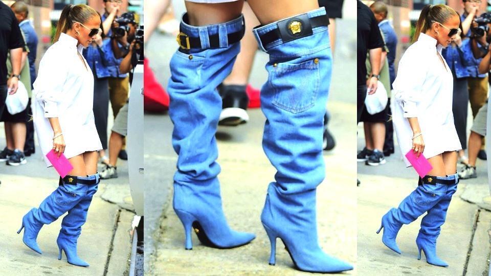 Jennifer Lopez,Pants,denim boot