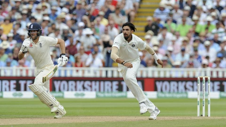 England's Dawid Malan takes a run, as India's Ishant Sharma waits for the ball during the third day of the first test cricket match between England and India at Edgbaston.Ravichandran Ashwin drew first blood for India as he dismissed Keaton Jennings for 8 and followed it up with the important wicket of Joe Root.  (Rui Vieira / AP)